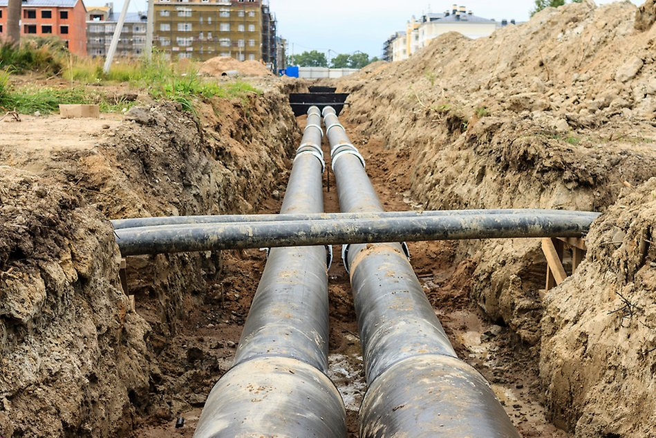 Pipes for district heating and cooling.