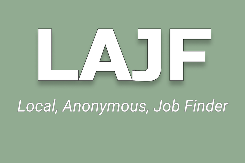 Ljusgrön färgplatta med vit text LAJF Local, Anonymous Job Finder.