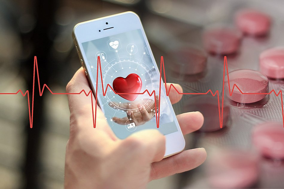 Illustration. A hand holding a smart phone with a heart on the screen. Heart beat diagram and pills across the illustration.