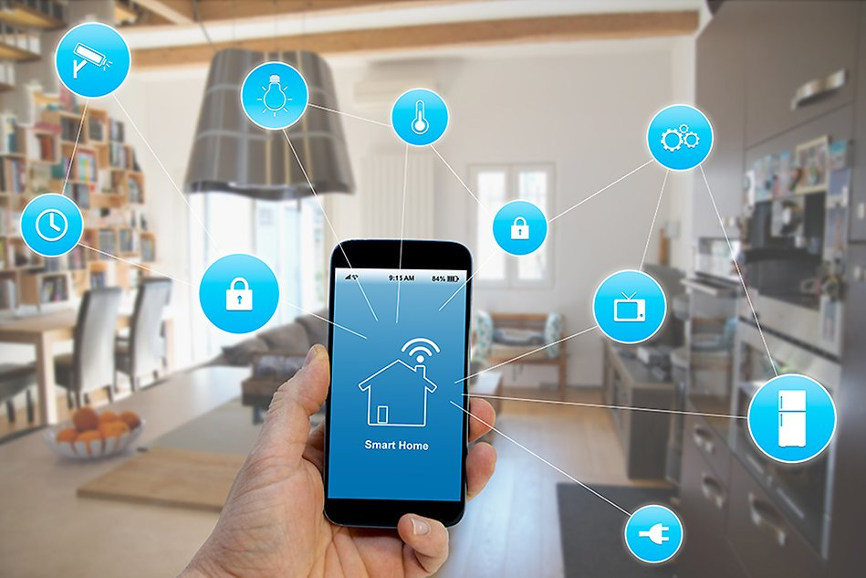 Image of a smart phone controlling a smart home.